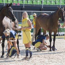 Sweden's Frida Andersen (left) and Sarah Algotsson Ostholt (right) attracted the full attention of the photographers during today's Eventing first horse inspection at Deodoro Olympic Park in Rio de Janeiro (BRA). (FEI/Richard Juillart)