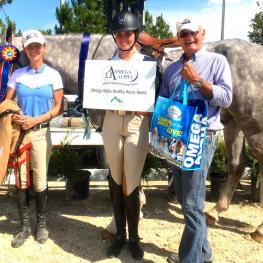 The Governor, ridden by Hunter Holloway, wins the Omega Alpha Healthy Horse Award at the Colorado Horse Park Summer in the Rockies show series
