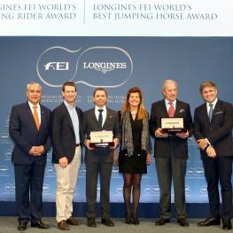 From left to right: FEI President Ingmar De Vos, McLain Ward (USA), Kent Farrington (USA) winner of the Longines FEI Best Rider Award, Claudia Mathy, François Mathy and Juan-Carlos Capelli, Vice President of Longines (Photo: Longines/Pierre Costabadie)