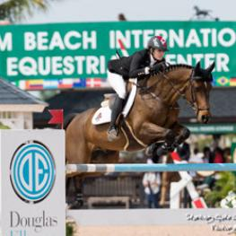 Tiffany Foster of North Vancouver, BC, guides Brighton to victory in the $35,000 Ruby et Violette WEF Challenge Cup Round VIII held March 3 for owners Artisan Farms and Torrey Pines Stable.