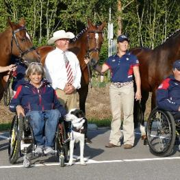 Para Team – The members of the American Team pose for a group photo after the horse inspection.