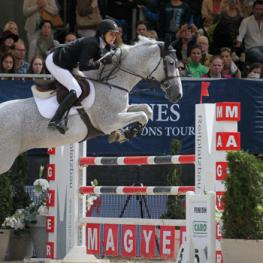 Toronto's Wesley Newlands executes a daring jump-off riding Wieminka B to score victory on the Longines Global Champions Tour in Vienna, AUT.  Photo © Stefano Grasso/LGCT