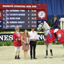 horse and rider being presented awards