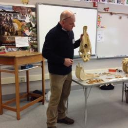 Equine Dentist Brian Stuart shows participants an equine maxillae to demonstrate horse anatomy as it relates to the upper teeth. (Photo by Carole Baker)