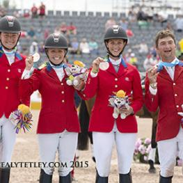 The Canadian Eventing Team claimed the team bronze medal at the TORONTO 2015 Pan American Games.  From left to right: Kathryn Robinson, Jessica Phoenix, Colleen Loach and Waylon Roberts. (Photo © Cealy Tetley)
