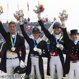 The Canadian Dressage Team won the Silver Medal at the TORONTO 2015 Pan American Games.  From left to right: Chris von Martels, Brittany Fraser, Megan Lane and Belinda Trussell. Photo © Cealy Tetley