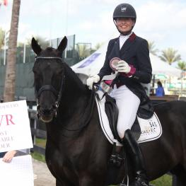 : Charlotte Jorst (right), riding Kastel's Adventure, won the Custom Saddlery MVR Award at the Adequan Global Dressage Festival