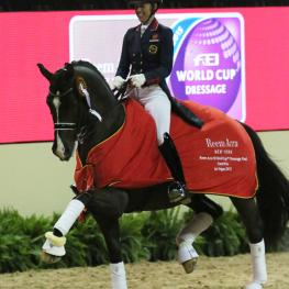 Charlotte Dujardin and Valergro, Reem Acra FEI World Cup Dressage Final 2015  Photo: © Mary Phelps