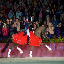 Reigning champions, Great Britain's Charlotte Dujardin and Valegro, strutted to victory at the sixth leg of the Reem Acra FEI World Cup™ Dressage 2014/2015 Western European League in Amsterdam. (Photo: FEI/Arnd Bronkhorst)