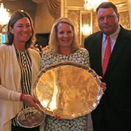 Caroline Weeden, Margaret Benjamin and Rush Weeden accept the award on behalf of the Chicago Hunter Derby for the Best Hunter Derby of 2014 at the National Show Hunter Hall of Fame awards dinner. Photo Emily Riden/Phelpssports
