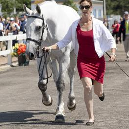 Colleen Loach, 32, of Dunham, QC, presents Qorry Blue d'Argouges at the horse inspection.(Photo © Cealy Tetley)
