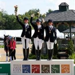 Dressage Junior Freestyle medalists - Helen Claire McNulty, Bebe Davis, and Camille Carier Bergeron (Photo: SusanJStickle.com)