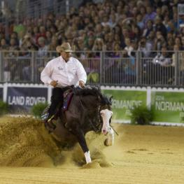 Shawn Flarida steered Spooks Gotta Whiz to win individual Reining gold at the Alltech FEI World Equestrian Games™ in Parc des Expositions at Caen, Normandy tonight. (Dirk Caremans/FEI)