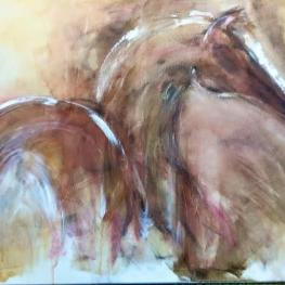 """Hallelujah"" is one of her favorites.  A foal born at Hidden Pearl captured the   artist's attention and it was the first work she created since she moved to Pennsylvania. The 2 ft. x 2 ft. work is hanging at the farm."