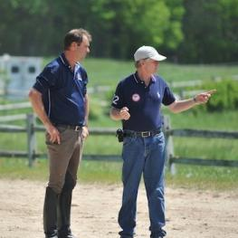 U.S. Chef d' Equipe Kai Handt works with Paralympic Dressage Trainer Wes Dunham. (Photo: Lindsay Y. McCall)