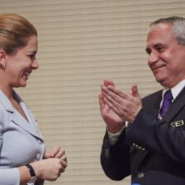 HRH Princess Haya pictured with the newly elected FEI President Ingmar De Vos (BEL) on 14 December 2014, the day she stepped down as the FEI President after eight years in the role. Princess Haya handed the FEI Presidential pin over to the new President during a brief ceremony which followed the General Assembly. (FEI/Liz Gregg)