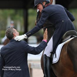 Charlotte Jorst thanks USA Dressage Team Coach Robert Dover Photo: Mary Phelps