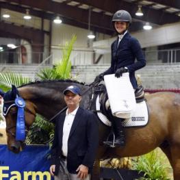 Kaely Tomeu and Fidalgo Van Het Leliehof receive their first place award. Photo: Randi Muster.