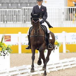Kathryn Robinson and Let It Bee are currently sitting second following dressage in their major games debut. Photo © Cealy Tetley - www.tetleyphoto.com