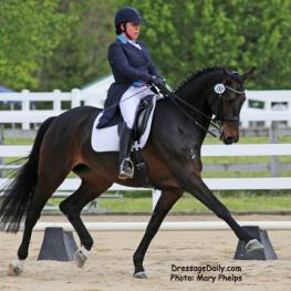With a high score of 72% in the Intermediare I last week at Majestic Farm, Batavia, Ohio Rebecca Knollman and Rocky Lane keeps getting stronger with each outing. Photo: Mary Phelps
