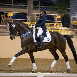 Ari Lopez & Corlander II topped a tough field in the Grand Prix 16-25 Test at Mid-Winter Dressage CDI. (Photo by Terri Miller)
