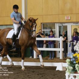 Michael Poulin demonstrates a Freestyle for the auditors at the Equestrian Center at Pineland Farm.