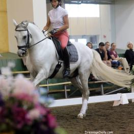 Michelle Hirshberg adult amateur from Maine on her stallion Bocage got many helpful hints and music ideas from Terry Ciotti gallo.