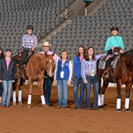 Midway College's Horses and Student Volunteers with the 2015 Kentucky Para-Reining Competitors.
