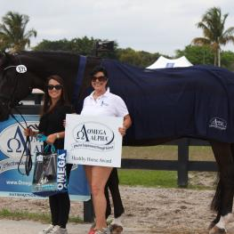 Fritz San Tino owned by Melanie Pai (right) and ridden by Natalie Pai (left), won the Omega Alpha Healthy Horse Award at the Adequan Global Dressage Festival.