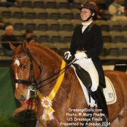 "Candace ""Candy"" Platz and her own Fynn a PMU resue horse with unknown bloodlines, placed third in Saturday's Grand Prix Adult Amateur Freestyle at the U.S. Dressage Finals presented by Adequan"