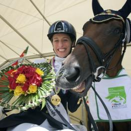 Italy's Sara Morganti has been voted the International Paralympic Committee's best female Allianz Athlete of the Month for August following her incredible performance at the Alltech FEI World Equestrian Games™ 2014 in Normandy (FRA) - she is pictured at these Games with her mare Royal Delight. (FEI/David Sinclair)