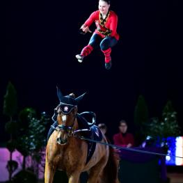 Simone Jäiser, Swiss national champion and businesswoman by day, won the last qualifier for the FEI World Cup™ Vaulting in Leipzig (GER), securing her spot at the series Final in Graz (AUT) on 19-22 February 2015. (im|press|ions/Pascal Duran/FEI)