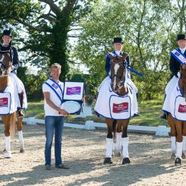 Team Denmark won the sixth and last leg of the FEI Nations Cup™ Dressage 2015 pilot series staged at Hickstead, Great Britain. (L to R) Sune Hansen, Sidsel Johansen and Anders Dahl. (Photo: FEI/Jon Stroud)