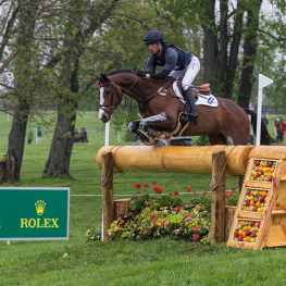 Tim Price of New Zealand leads the Rolex Kentucky Three-Day Event, presented by Land Rover, on Wesko. (Photo: Ben Radvanyi)