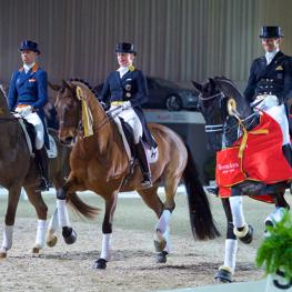 The top three in the Reem Acra FEI World Cup™ Dressage Western European League: L to R - Hans Peter Minderhoud/Glock's Flirt, runners-up Isabell Werth/Don Johnson FRH and winners Edward Gal/Glock's Undercover. (Photo: FEI/Arnd Bronkhorst)