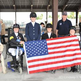 USA Team (Left to right): Sydney Collier, Annie Peavy, Rebecca Hart, U.S. Chef D' Equipe Kai Handt, and Roxanne Trunnell (Photo: (C) Lindsay Y. McCall)