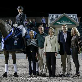 Janne Rumbough of MTICA Farm (far left) in the winner's presentation at the 2014 AGDF. (Photo: © SusanJStickle.com)