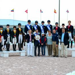 On the podium for the second leg of the FEI Nations Cup™ Dressage 2015 series in Wellington, USA (from left) - 3rd-placed Team Canada 2,  winners Team USA 1, 2nd-placed Team Canada 1. (FEI/Susan Stickle)