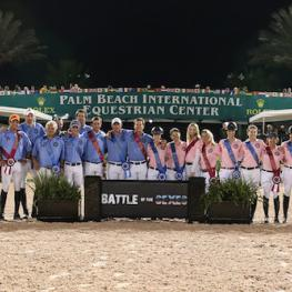 The women and men shared victory in this year's $75,000 Battle of the Sexes. Photo © Sportfot, An Official Photographer of the Winter Equestrian Festival, us.sportfot.com.