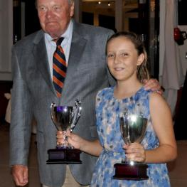 Dick Riemenschneider and Zoey Echezarreta who was presented the 2015 Junior Sportsmaship Award for herself and her brother Cipriano (Photo:Alannah Castro)