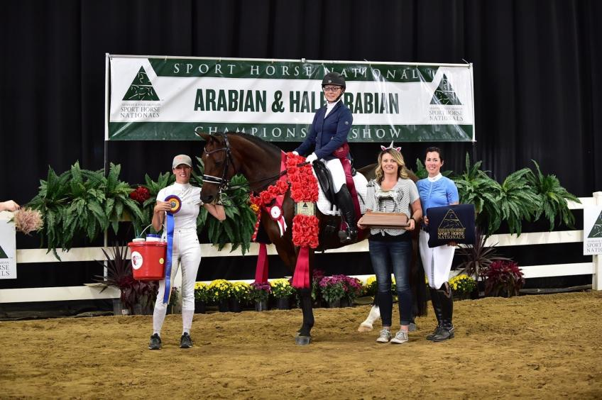 Patricia Hough and Quick Lady showing off their Vita Flex Victory Pass Award win and many others during the Arabian Sport Horse Nationals. (Photo courtesy: Don Stine Communications and Photography)